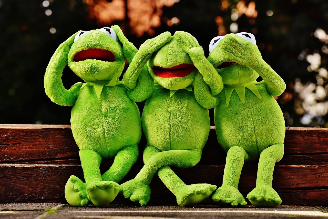 kermit the frog see no evil speak no evil hear no evil
